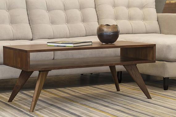 Mid Century Modern Coffee Table Solid Wood Walnut Etsy In 2020 Mid Century Modern Coffee Table Modern Furniture Living Room Coffee Table