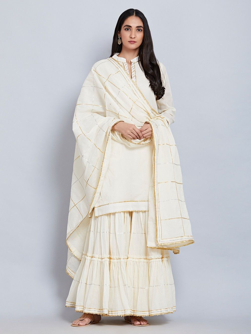 bc2c1f538fb Buy Off White Cotton Mulmul Kurta with Gharara and Gota Dupatta - Set of 3  online at Theloom
