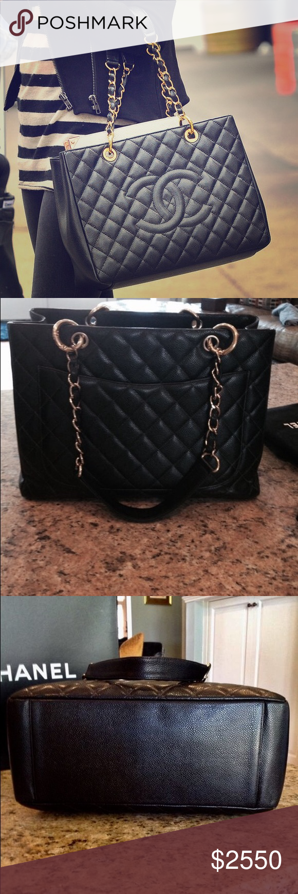 5a029bc2d12 CHANEL Grand Shopping Tote Gold and Caviar GST L This my Authentic CHANEL  GST L GHW