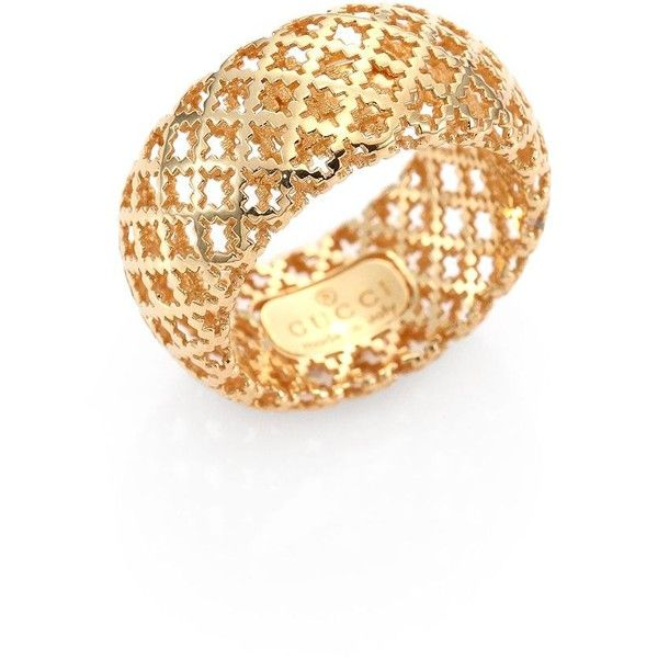 1ef0c9169 Gucci Diamantissima 18K Yellow Gold Band Ring ($965) ❤ liked on Polyvore  featuring jewelry