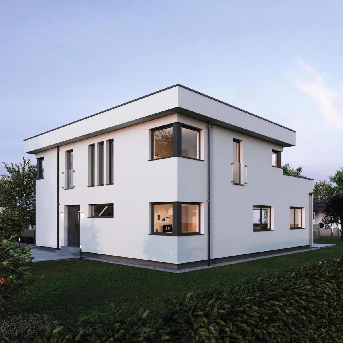 House Design With Flat Roof In Bauhaus Style Home Plans Two Story House Design House Architecture Design Flat Roof Design