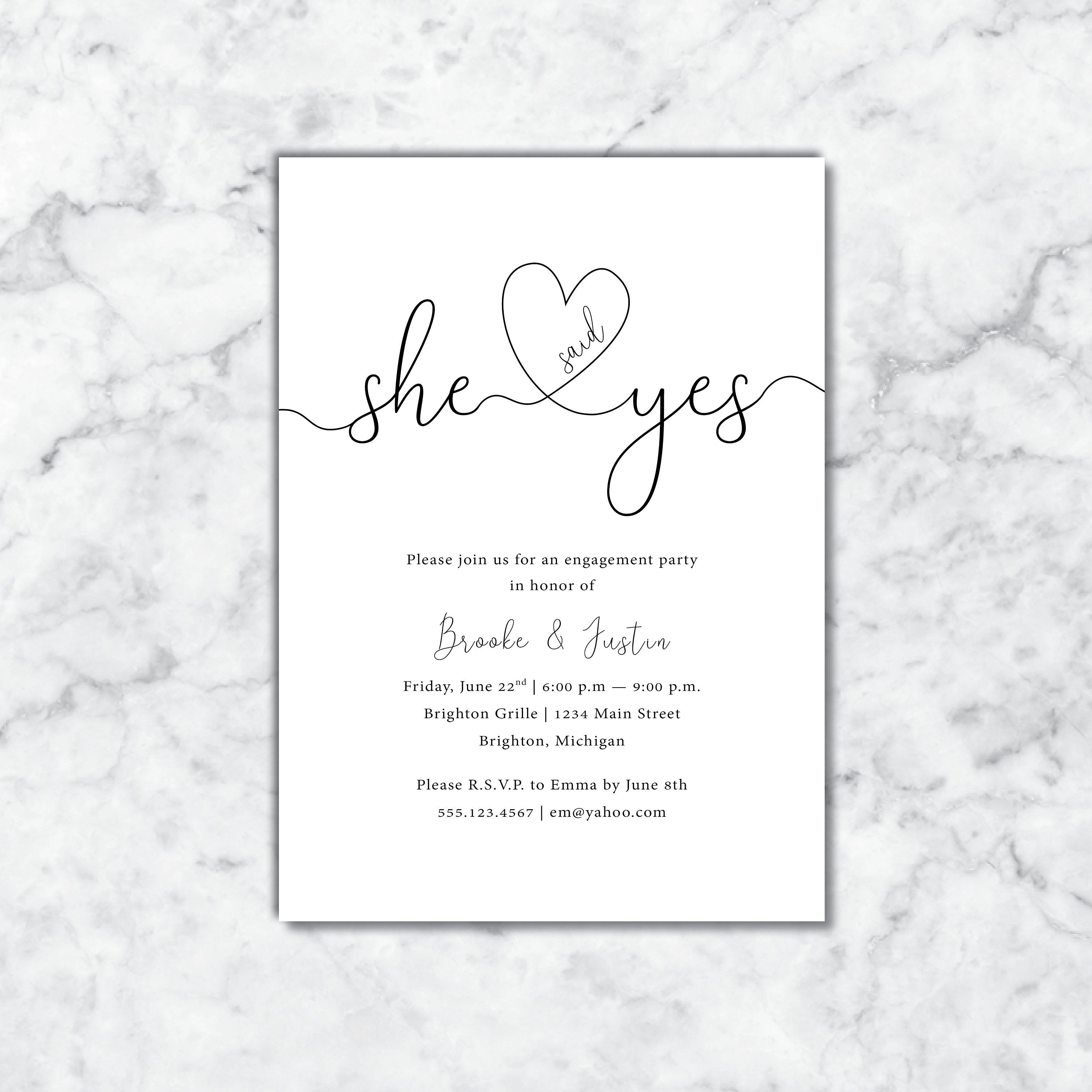 She Said Yes Engagement Party Invitation She Said Yes Invitation Template Printable Engagement Party Invitation She Said Yes With Heart Engagement Party Invitations Printable Engagement Party Invitations Engagement Party
