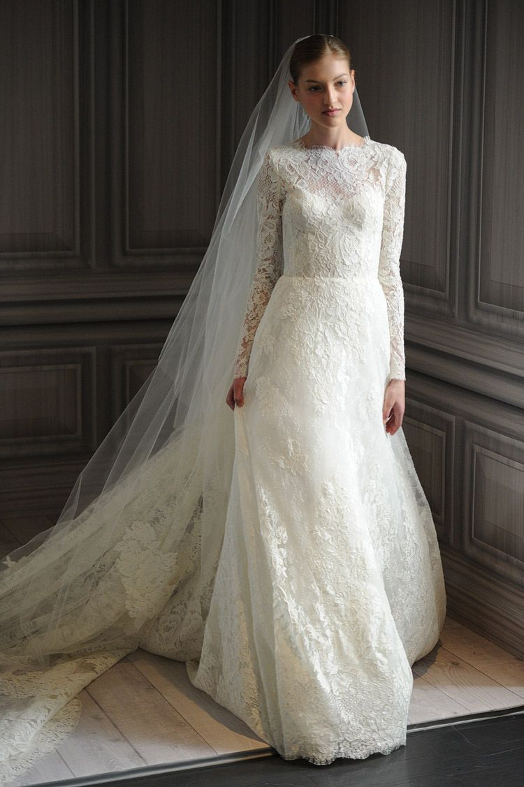 Free shipping Long sleeves Chic Vintage Lace Wedding Dress High ...