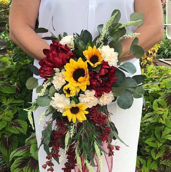 Cascading Crimson Sunflower Bridal Bouquet-Silk Cascading Autumn Bridal Bouquet-Sunflower-Peonies-Chrysanthemum-Larkspur-Heather-Burgundy