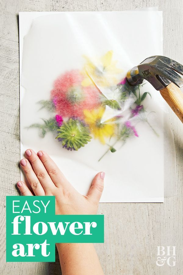 This easy pounding technique makes it so easy to transfer bright flower blooms onto watercolor paper. We love this technique to create custom art decor. Learn how to make this easy pounded flower art. #poundedflowerart #preserveflowers #flowercrafts #diy #craftideas #bhg