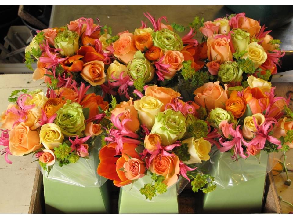 Pink orange yellow and green reception wedding