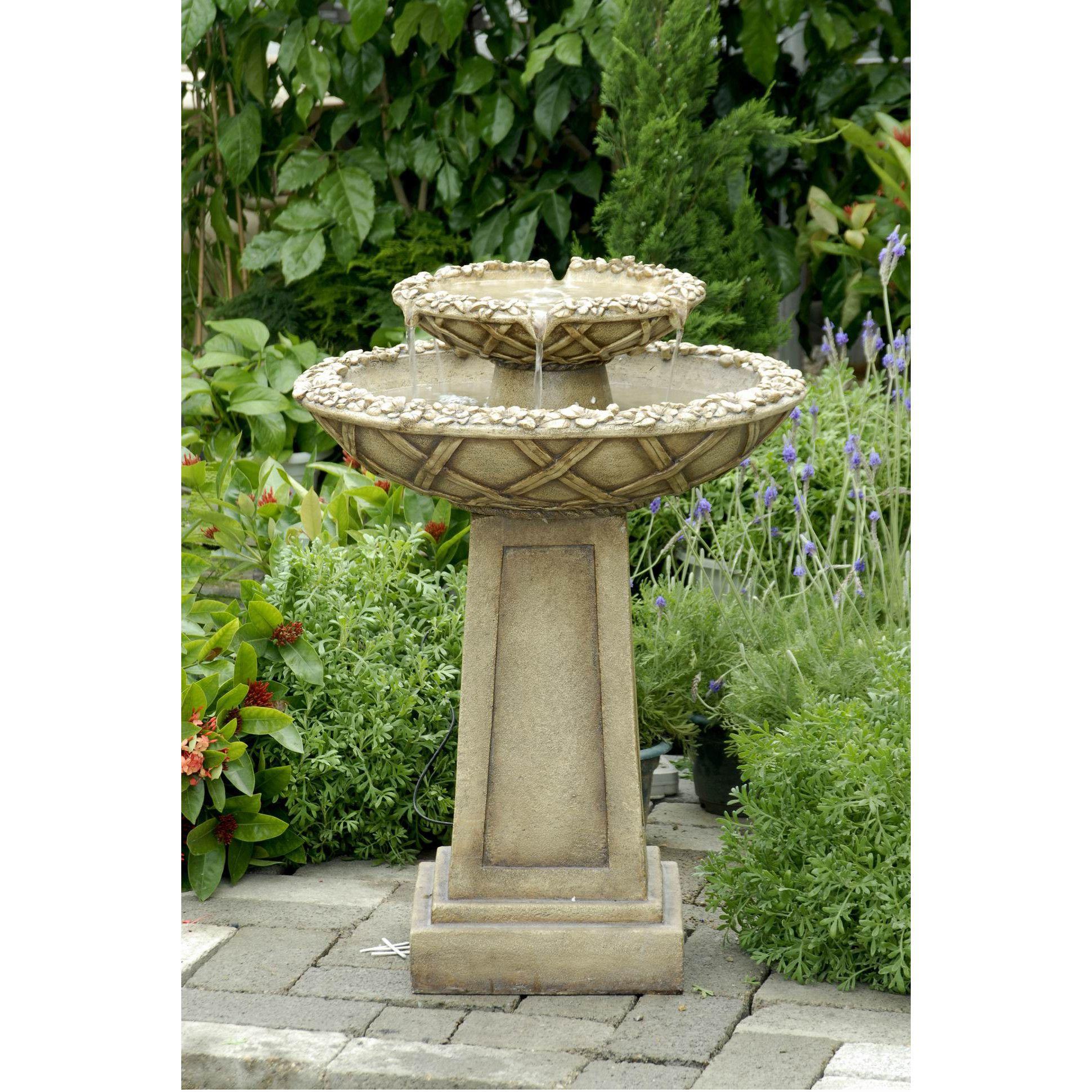 Polyresin U0026 Fiberglass Tiered Bird Bath Fountain