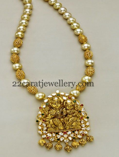 Jewellery Designs Uncut Beads and Pearls Long Chain Beads