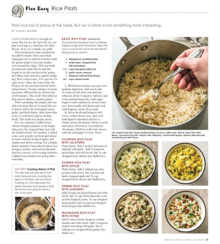 5 Easy Rice Pilaf Recipes In Cook S Country Magazine