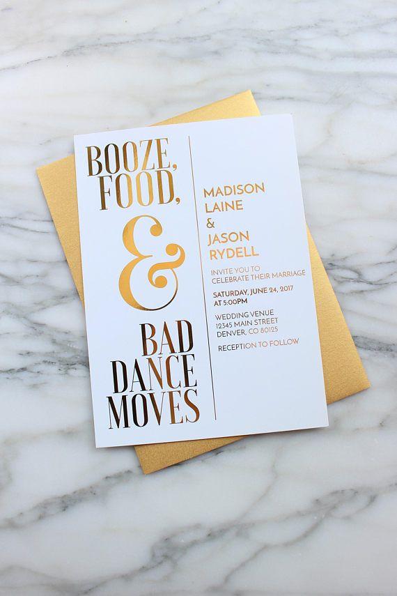 Gold Foil Wedding Invitation Suite Custom