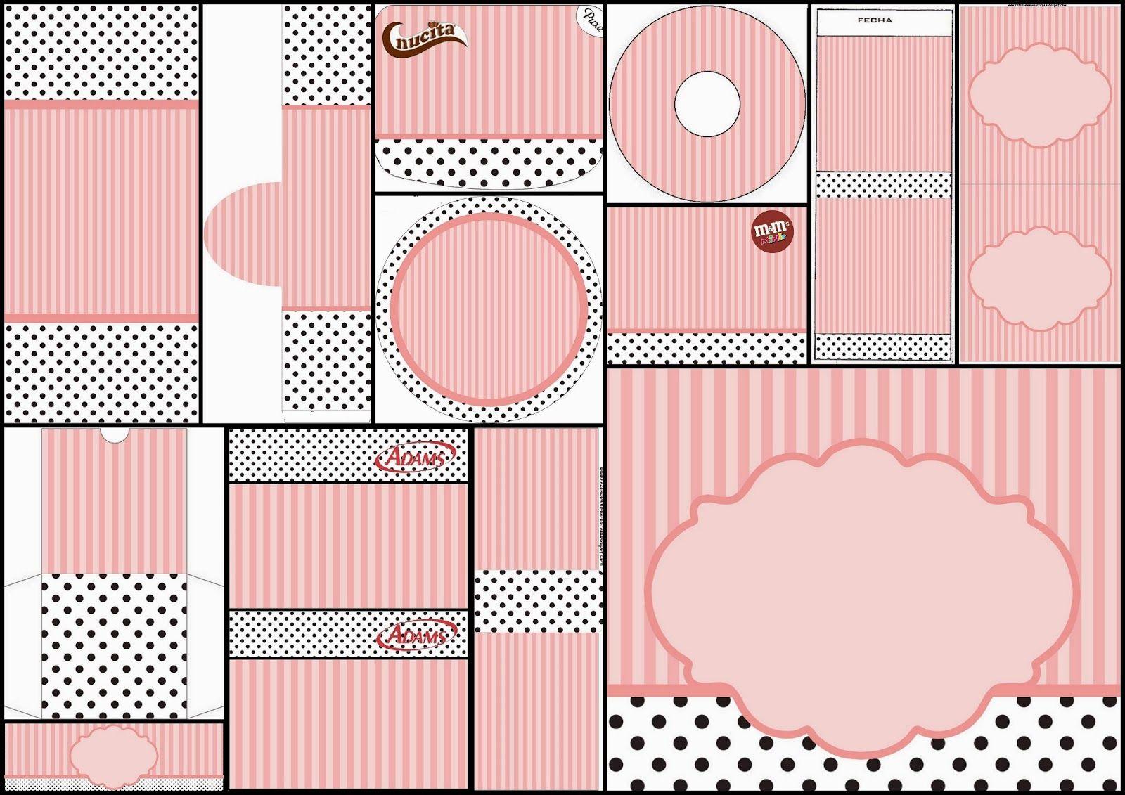 Rayas Rosa y Lunares Negros: Etiquetas para Candy Bar para Imprimir ...