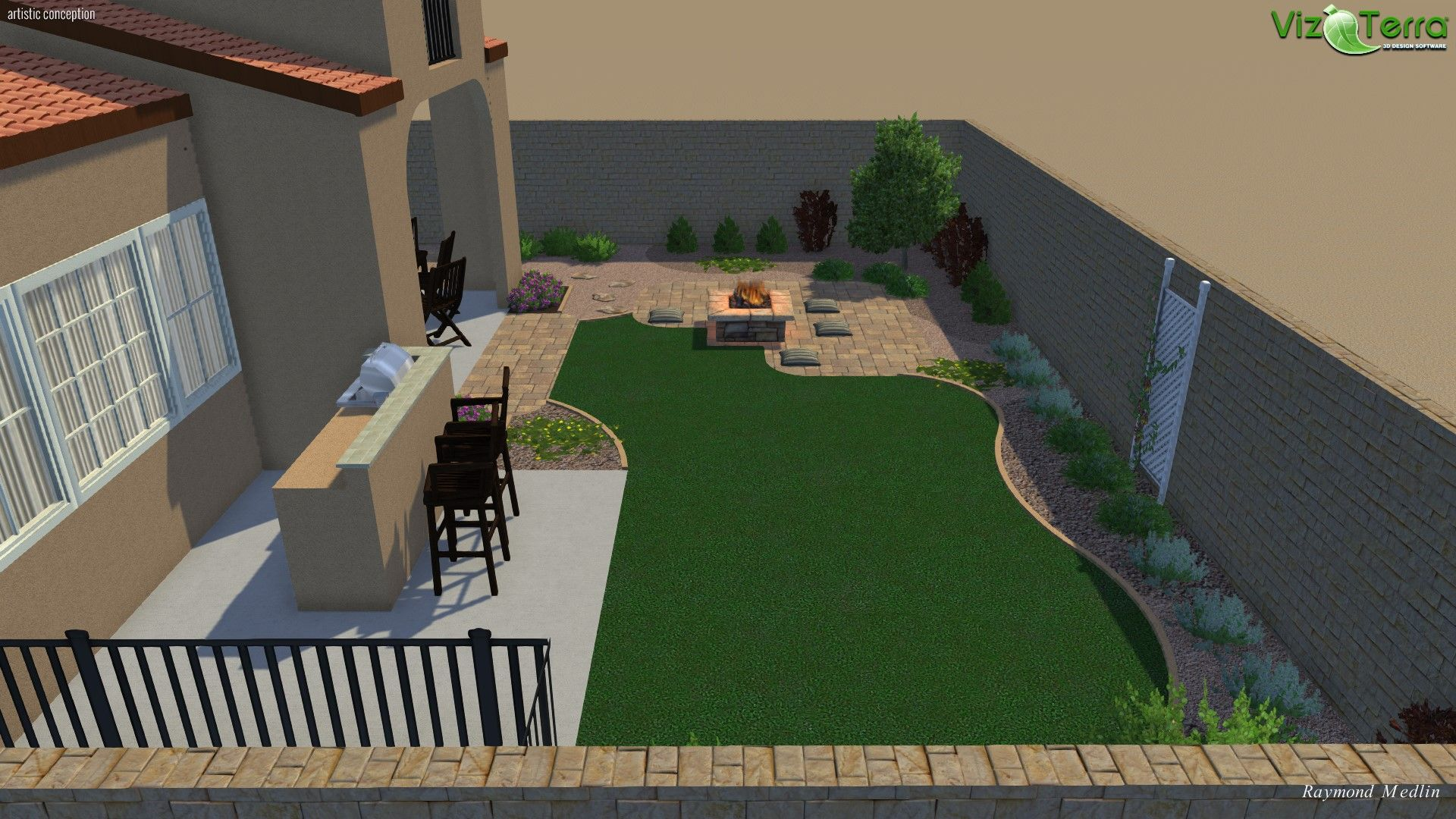 3d Landscape Design Turf Fire Pit Plants And Sierra