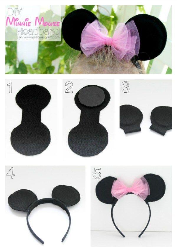 DIY Cómo hacer divertidas orejas de Minnie Mouse | diademas ...