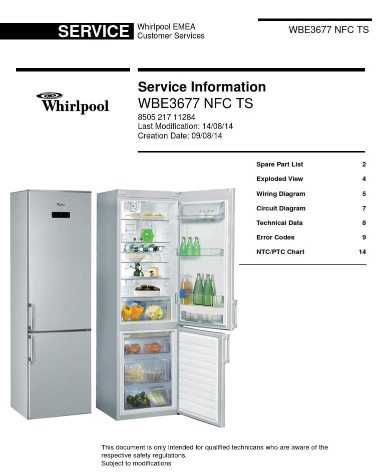 whirlpool wbe3375 nfc ts original service manual as used by all certified  technicians and repair shops