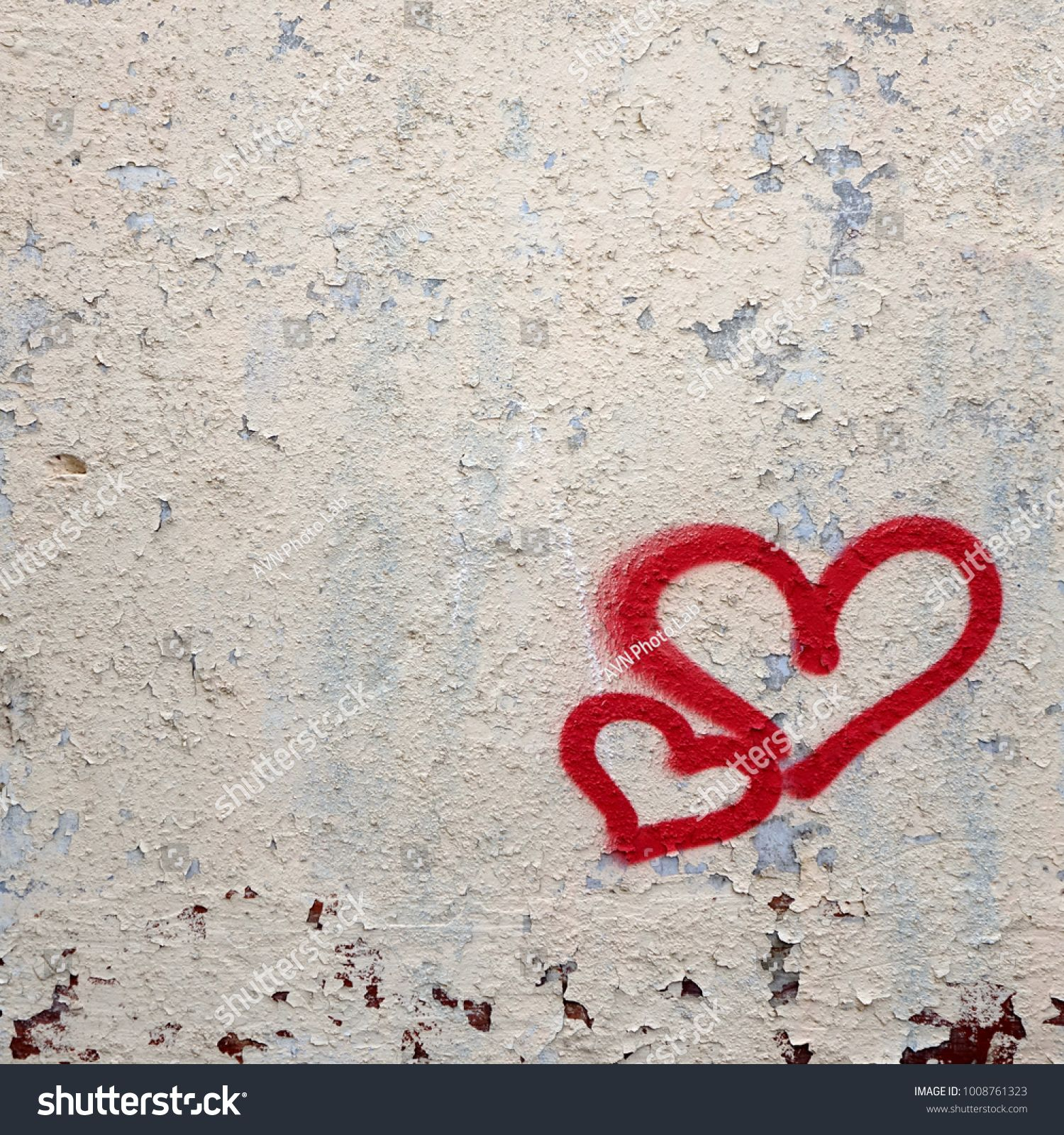 Two Graffiti Love Red Heart Painted On White Concrete Wall Concept For Love Emotion Or Valentine Day Abstract Love Ve Heart Painting Avenger Artwork Graffiti