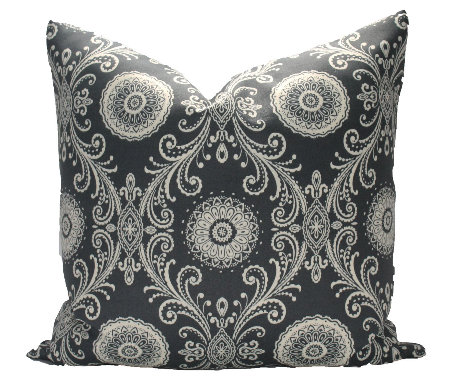 Outdoor Decorative Charcoal Grey Medallions Pillow Cover Etsy Etsy Pillow Covers Medallion Pillow Pillows