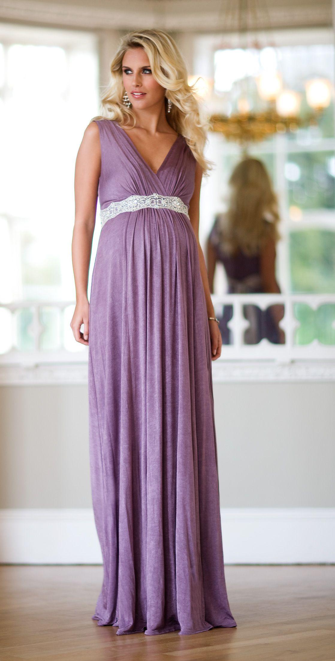 Anastasia Maternity Gown (Heather) with Diamante Sash by Tiffany ...