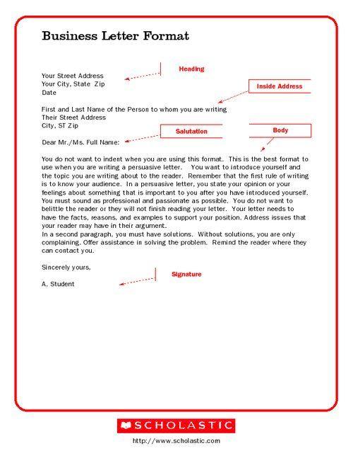 Business Letter Format screenshot School Pinterest Business - best of business letter format without name