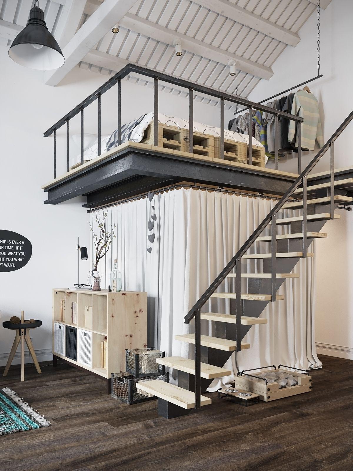Loft bedroom staircase  Prague loft  Combles u Mezzanines  Pinterest  Scandinavian loft