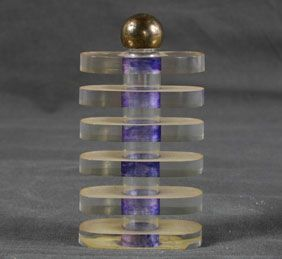 Lucite Art Deco design Perfume Bottle. Purple and clear layered ovoid tower form
