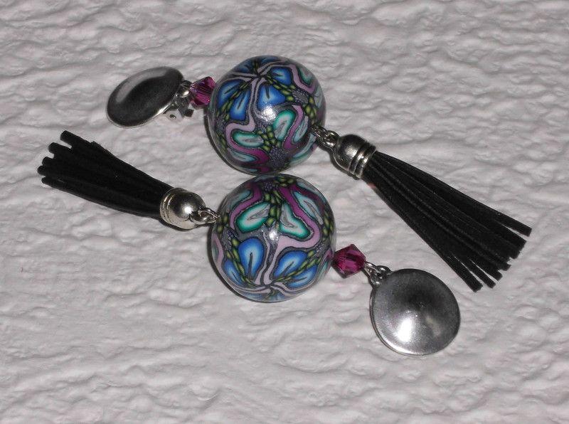 Ohrclips - Ohrclips mit schwarzer Quaste - ein Designerstück von iCo-Design bei DaWanda