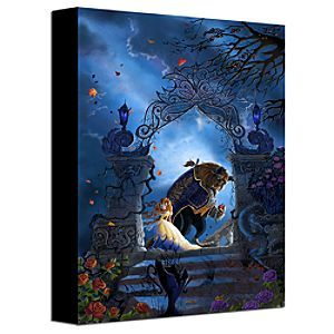 Disney ''Beastly Garden'' Beauty and the Beast Gallery Wrapped Canvas | Disney Store''Beastly Garden'' Beauty and the Beast Gallery Wrapped Canvas - Belle turns away from Beast, who's clutching the enchanted rose, in this striking image inspired by Disney's beloved Beauty and the Beast.  Titled ''Beastly Garden'', this haunting work comes gallery wrapped on canvas!