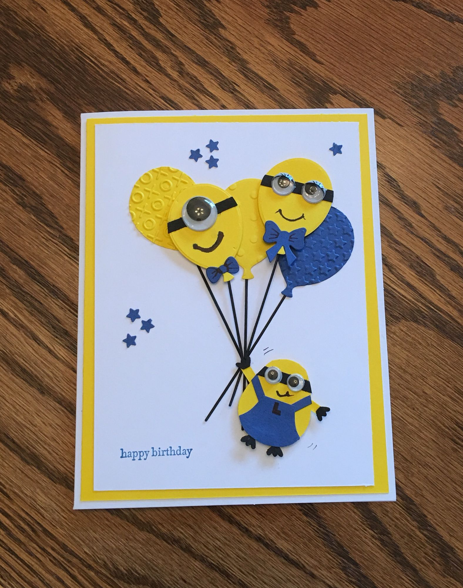 Minion Birthday Card I Got The Ideal From A Stamping Up Person On Pinterest And Had To Give It A Try For My Grands Minion Card Minion Birthday Card Kids Cards