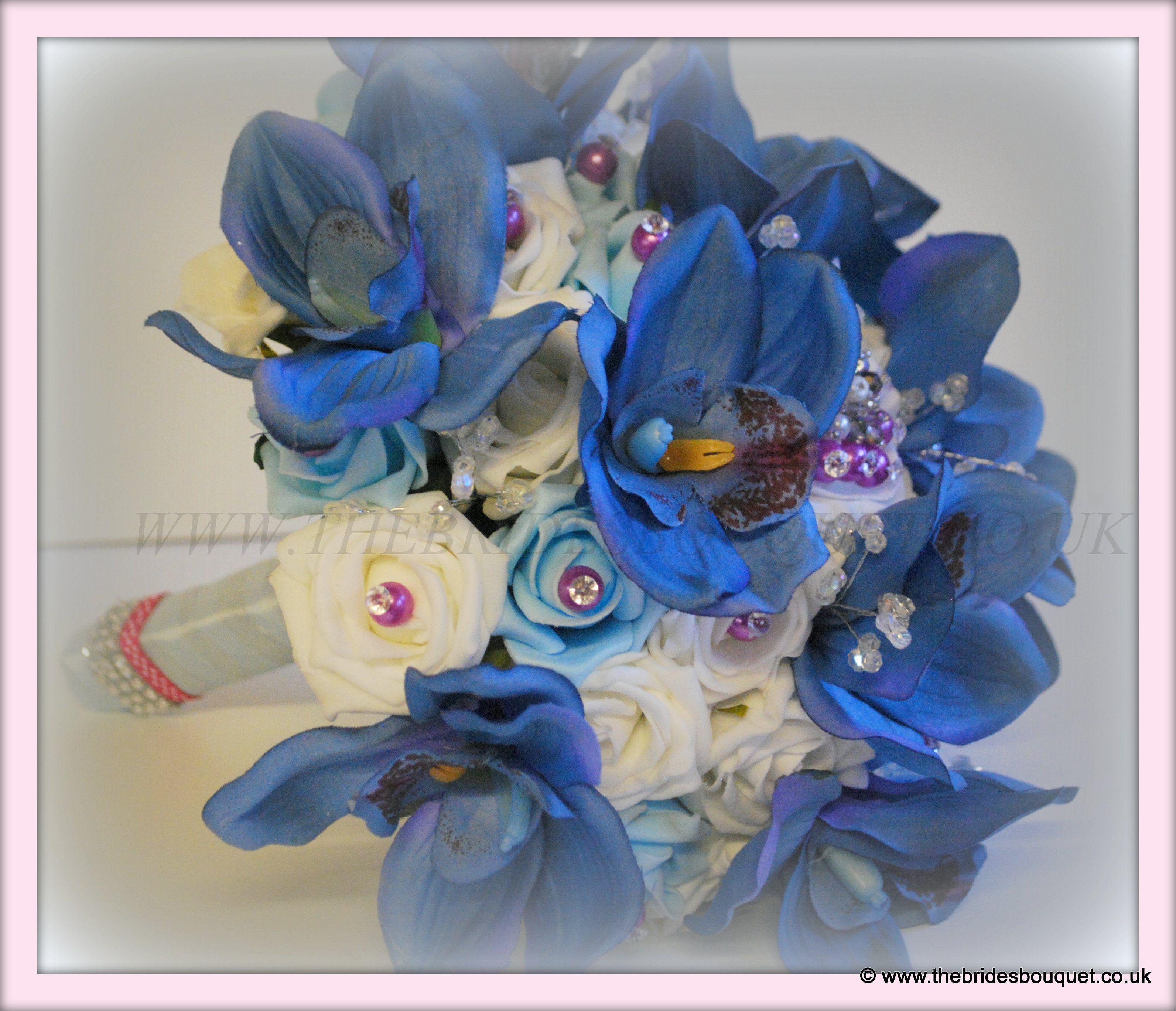 Blue Orchid Brides Posy Embellished Wedding Bouquet Unique Silk