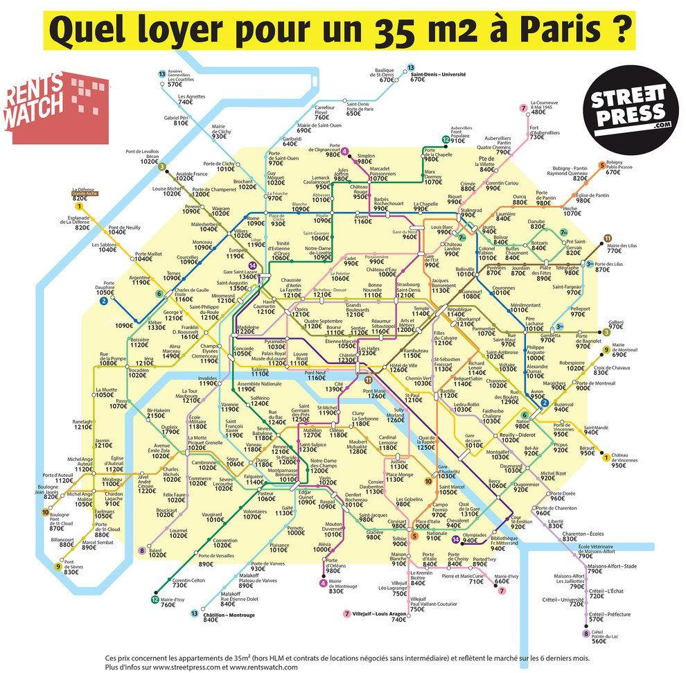 Cette carte des loyers parisiens selon leur station de métro, mise