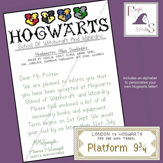 Hogwarts Acceptance Letter and Train Ticket - 18 count fabric - acceptance letters pdf