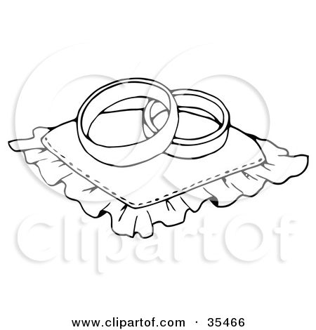 Clipart Illustration of Two Wedding Bands Resting On A Ring Pillow