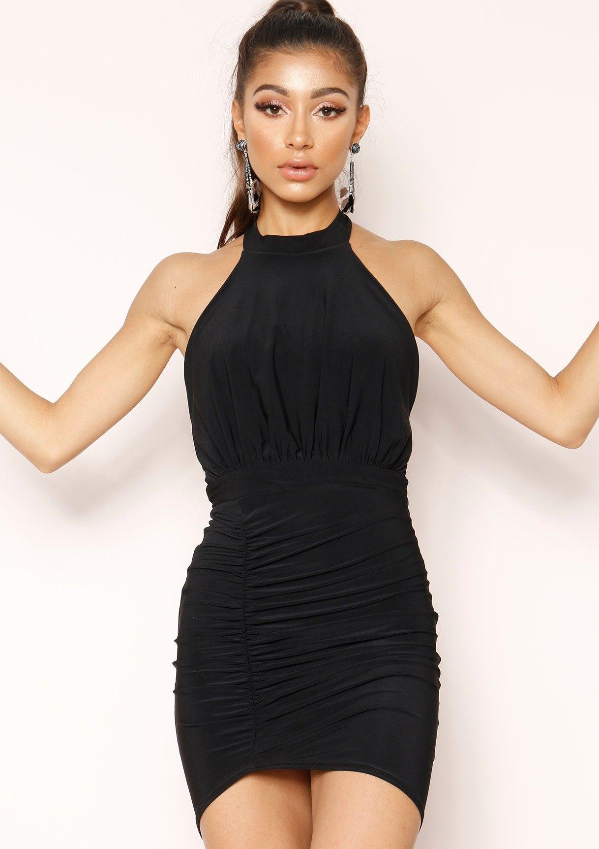 044cf94f78 Missyempire - Serin Black Slinky Ruched Bodycon Dress