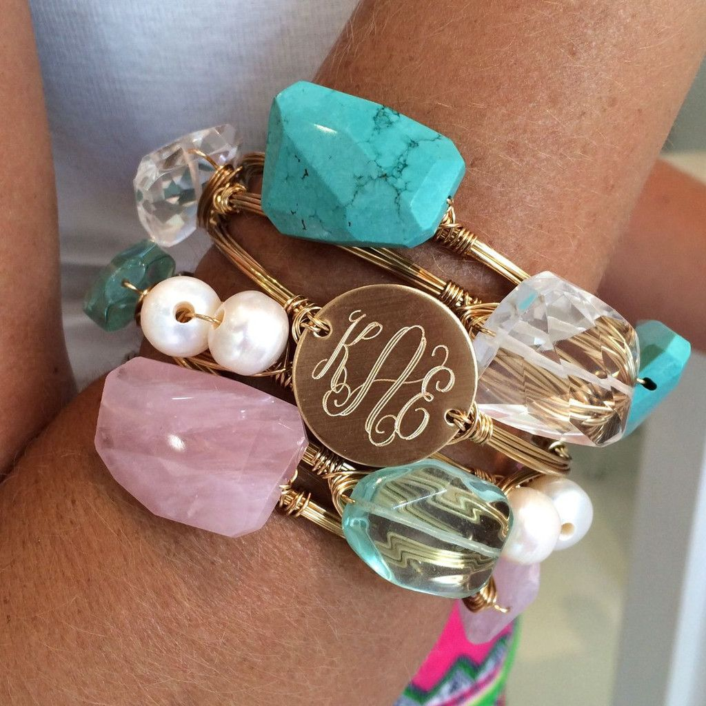 Monogram Wire Wrapped Bangle | Wire wrapped bangles, Wire wrapping ...