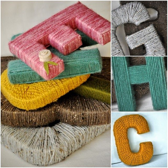 i think i've seen wooden letters at the dollar store, then cover them with yarn & instant monogram décor!