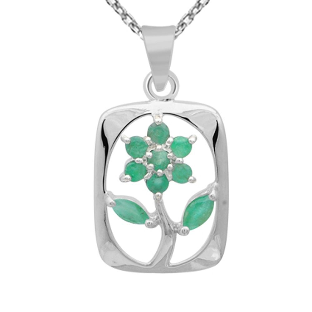 Orchid Jewelry 925 Sterling Silver 0.62 Carat Emerald Flower Necklace (925 Silver-Emerald), Women's, Size: 18 Inch, Green