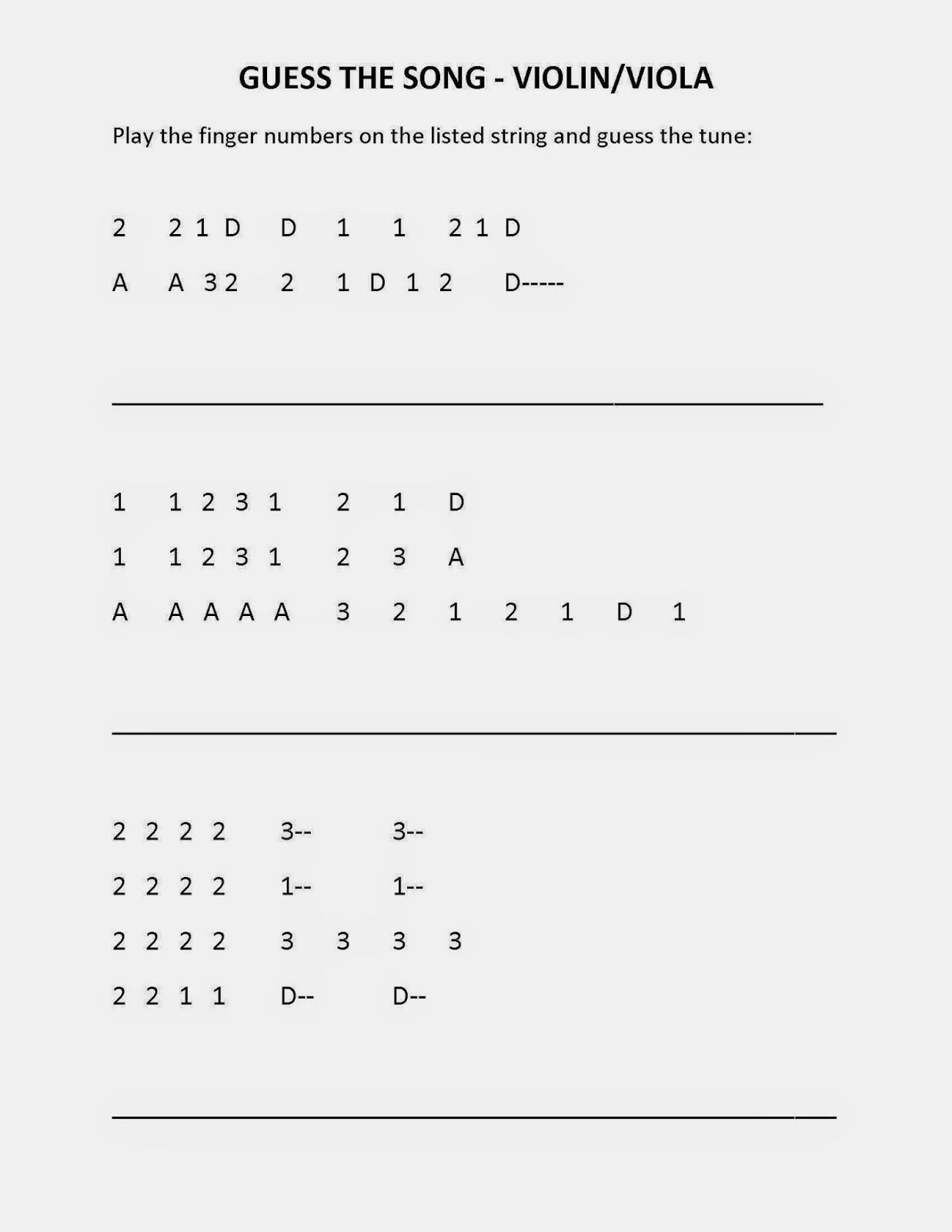 Tunes by finger number for violin, viola, cello and bass