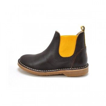 Yellow / choco Chelsea boots
