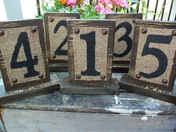 numbers & burlap. would be cool for house numbers.