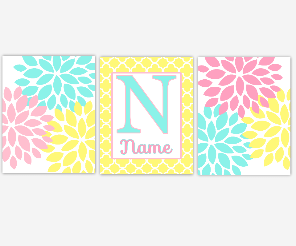 Personalized - Baby Nursery Canvas Wall Art - Pink Aqua Yellow ...