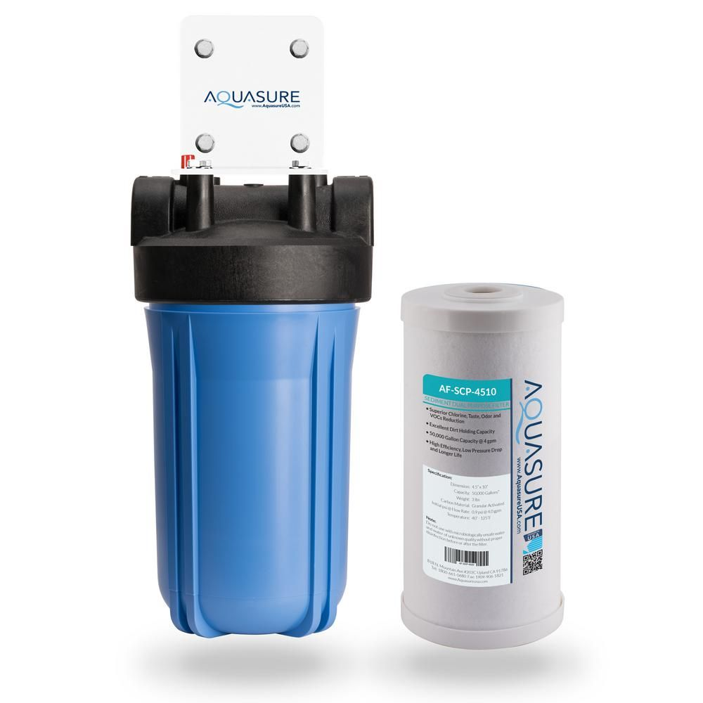 Aquasure Fortitude 50 000 Gal Sediment And Carbon Dual Purpose Whole House Water Filtration System As F110scp The Home Depot In 2020 Water Purification System Water Filtration System Water Purification