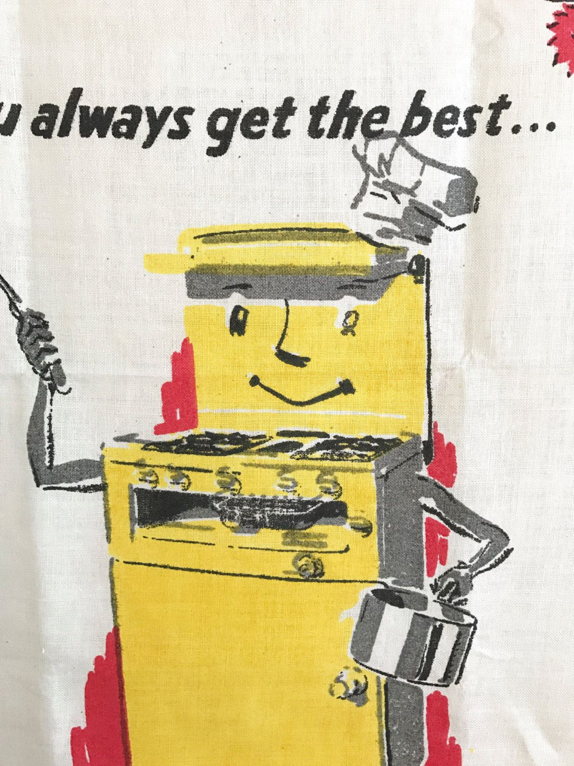 Vintage Kitchen Towel Anthropomorphic Newhome Modern Gas Cooker Oven ...