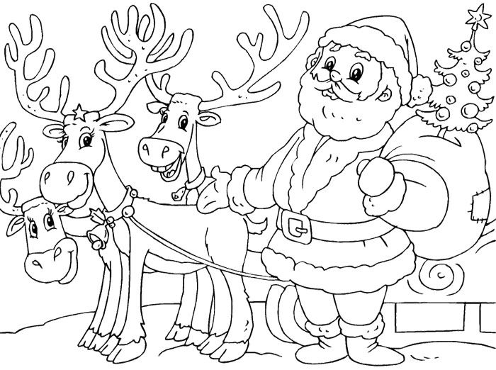 santa claus and his reindeer coloring pages - santa and reindeer coloring page pages to color