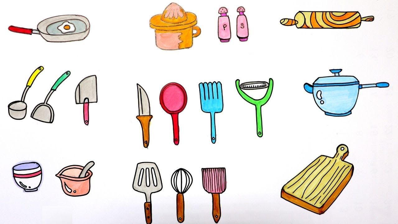 How To Draw Kitchen Utensils Step By Step Drawing And Coloring