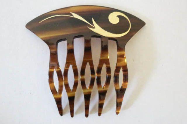 Vtg Tortoise Shell Brown Plastic Art Nouveau Style Decorative Hair Comb France | eBay