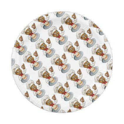 Cartoon Pastry Chef Baker With Fairy Cake Paper Plate - black gifts unique cool diy customize personalize  sc 1 st  Pinterest & chef - #Cartoon Pastry Chef Baker With Fairy Cake Paper Plate | chef ...