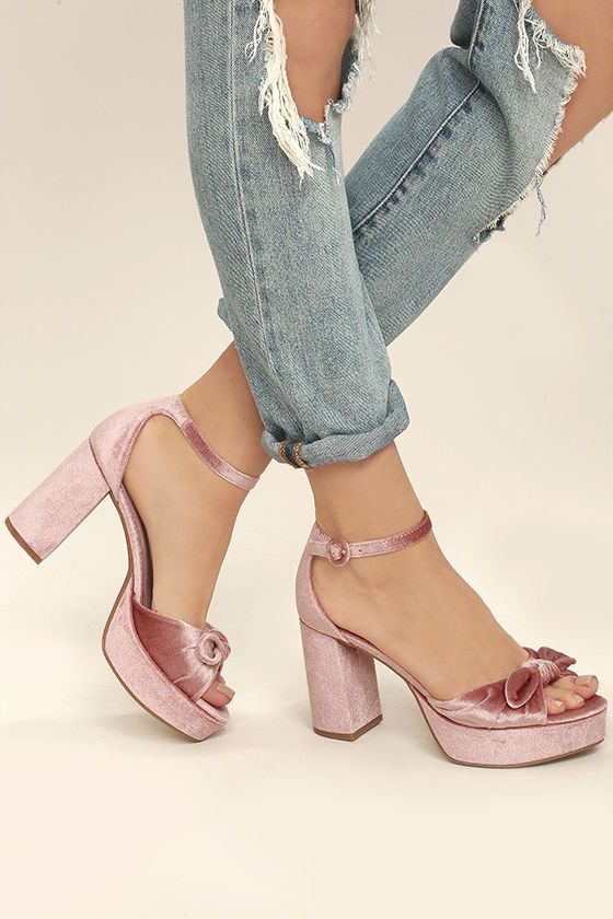 Chinese Laundry Tina Rose Pink Velvet Platform Heels