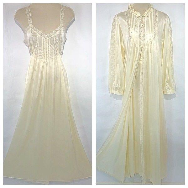 dee06e4780 Vtg Montgomery Ward Peignoir Set M Ivory Satin Lace Nightgown Robe Negligee   MontgomeryWard  SpecialOccasion