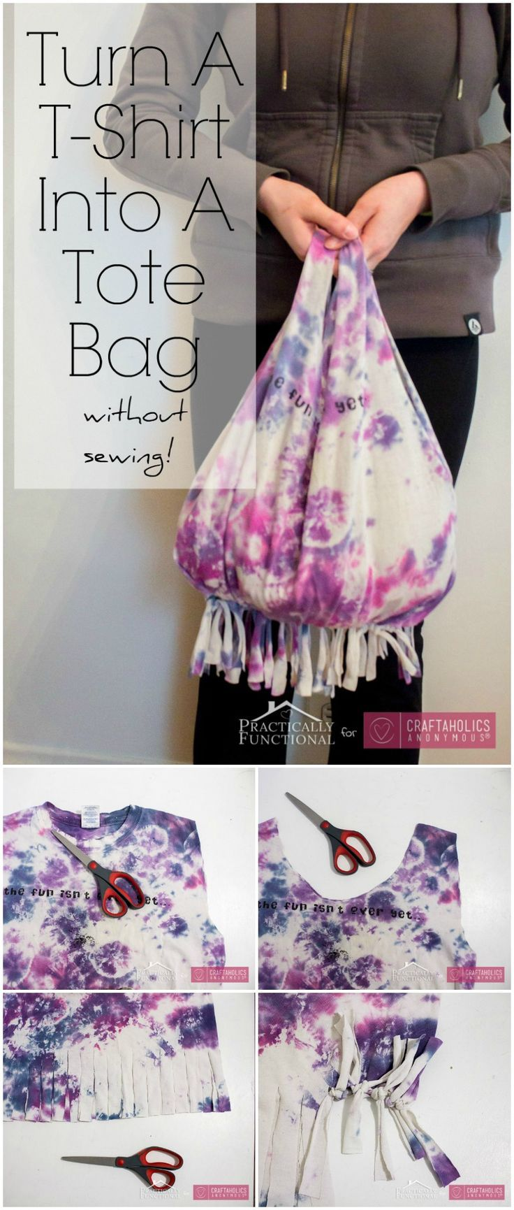 No-Sew T-shirt Bag Tutorial #recycledcrafts