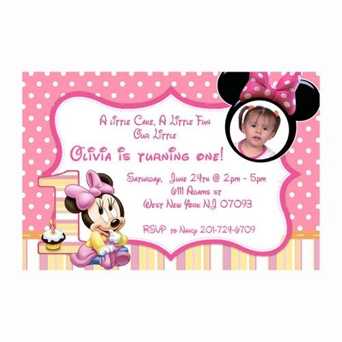Printable Baby Minnie Mouse First Birthday Invitations Cards - Digital first birthday invitation