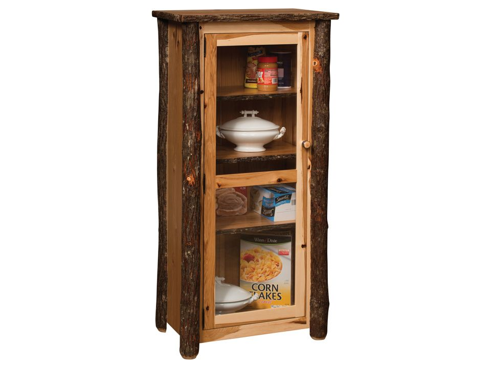 Amish Rustic Hickory Jelly Cupboard With Gl Door Blue Mountain Collection